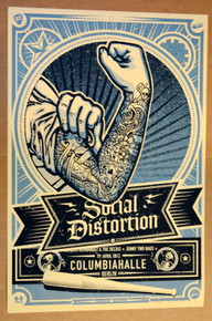 SOCIAL DISTORTION - 2015 - BERLIN - LARS KRAUSE - BLUE VARIANT - POSTER - COLUMBIAHALLE