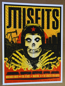 THE MISFITS - THE ATTACK - 2015- CONCERT PUB NORTH - HOUSTON - ZAK KAPLAN - POSTER -