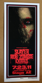 SLAYER - ROB ZOMBIE - EXODUS - 2011 - STAGE AE - PITTSBURGH - ENGINEHOUSE 13 - POSTER - MIKE MARTIN