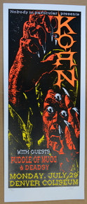 KORN - PUDDLE OF MUDD - DENVER - 2002 - LINDSEY KUHN - POSTER -  SILKSCREEN
