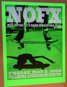 NOFX - 2008 - DENVER -FILLMORE - LINDSEY KUHN - TOUR POSTER - AMERICAN STEEL