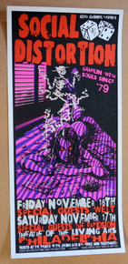 SOCIAL DISTORTION - 2001 - LIVING ARTS - PHILADELPHIA - JEFF WOOD - JOHNNY THIEF - POSTER