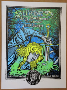 THE SWORD - BIG BUSINESS - 2014 - GOLD VARIANT - #12/13 - DALLAS - LINDSEY KUHN - POSTER