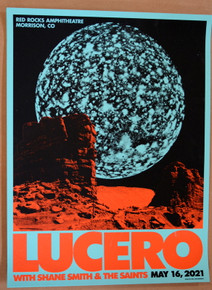 LUCERO - 2021 - RED ROCKS - SILK SCREEN - MEKSMUMBLES - MOON LIGHT SPEED - POSTER