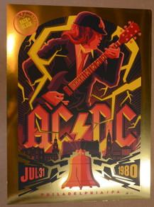 AC / DC - 1980 - PHILADELPHIA - FIRE GOLD FOIL - ARTIST PROOF - #XX/19 - TOM WHELAN - POSTER