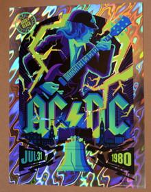 AC / DC - 1980 - PHILADELPHIA - MIDNIGHT BLUE LAVA FOIL - ARTIST PROOF - #XX/19 - TOM WHELAN - POSTER