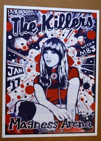 THE KILLERS - 2009 - MAGNESS ARENA - DENVER - POSTER - DARREN GREALISH