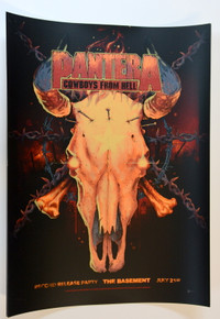 PANTERA - DALLAS - 1990 - ARTIST PROOF - COWBOYS FROM HELL - THE BASEMENT - VANCE KELLY - POSTER - SILK SCREEN
