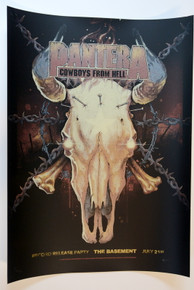 PANTERA - DALLAS - 1990 - A/P RARE - BONE WHTE VARIANT - COWBOYS FROM HELL - THE BASEMENT - VANCE KELLY - POSTER