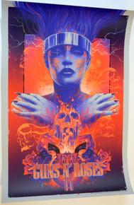 GUNS AND ROSES - TOUR POSTER  - #12/17 - 2021 - VANCE KELLY - BLUE VARAINT - SILK SCREEN - AXL - SLASH - DUFF