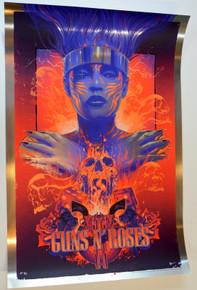 GUNS AND ROSES - TOUR POSTER  - #9/17 - FOIL- 2021 - VANCE KELLY - SILK SCREEN - AXL - SLASH - DUFF