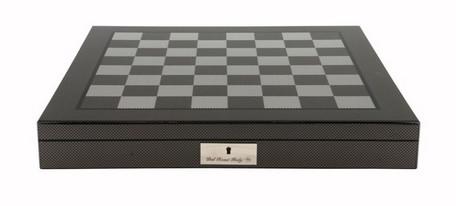 Dal Rossi 50cm Carbon Fibre Finish Chess Board with Storage Compartment (Board Only) (L2266DR) board