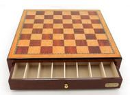 Dal Rossi 45cm Mahogany Finish Chess Board with Storage Drawers (Board Only)