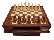 Dal Rossi Chess Set Walnut 50cm Chess Board with Wooden Pieces (L2299DR & L3020DR) full set