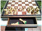 Dal Rossi Chess Set Walnut 50cm Chess Board with Wooden Pieces (L2299DR & L3020DR) storage open