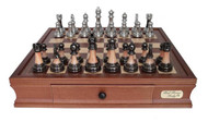 Dal Rossi Metallic Marble Look Pieces with 40cm Wooden Board Chess Set (L2026DR & L2226DR) full set