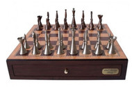 Dal Rossi Metal Staunton Chess Pieces with 45cm Walnut finish Board (L2211DR & L2234DR) full set
