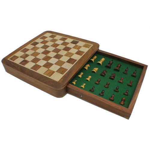 Rex Noir Square Magnetic Travel Chess Set 25cm with drawer (SQU-S-25) open