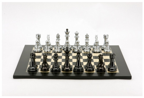 Dal Rossi Chess Set Silver/Titanium Pieces with Black/Erable Board (L3124DR & L3224DR)