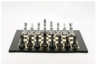 Dal Rossi Chess Set Silver/Titanium Pieces with Black/Erable Board (L3124DR & L3224DR)