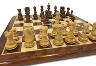 Rex Noir Valletta 100mm Sheesham / Boxwood Chess Pieces (VAL-S-10) on board