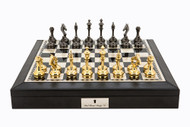 Dal Rossi Luxury Leatherette and Brass Cap Chess Set (L2235DR & L3052DR) full set