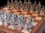 Dal Rossi Dragons Pewter Chess Pieces (L2223DR) close up - board not included