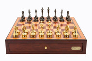 Dal Rossi Mahogany Finish 45cm Chess Board with Staunton Brass Cap Chess Pieces