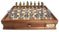 Dal Rossi Medieval Pewter Chess Set with 40cm Board (L2219DR & L2222DR) full set