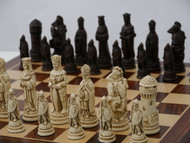 Berkeley Chess Camelot (Brown) Chessmen pieces (BC2006) full board shown