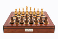Dal Rossi 50cm Walnut Finish Chess Board with 95mm Sheesham Chess Pieces (L2054DR & L3020DR) full set