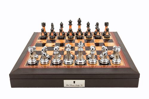 "Dal Rossi 16"" Walnut Finish Chess Set with PU Leather Edge and Metallic Marble Look Chess Pieces (L2011DR & L2226DR) full set"