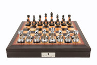 "Dal Rossi 16"" Chess Set Walnut Finish Chess Set with PU Leather Edge with compartments and Metallic Marble Look Chess Pieces"