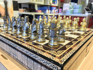 Dal Rossi Medieval Warriors & Mosaic Board Chess Set