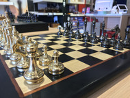 Dal Rossi Brass Cap Chess Pieces & Rex Noir Discipline 45cm Ebony Chess Board (DIS-E-45 & L3052DR) side full