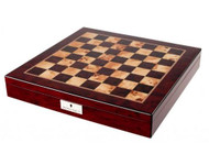 Dal Rossi Italy Chess Box Mahogany Finish Chess Board with Storage Compartment (Board Only) (L2269DR) closed box