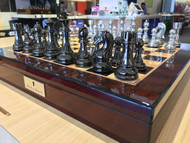 Dal Rossi Italy Chess Box Mahogany Finish Board & 105mm Silver/Titanium Colour Chess Pieces