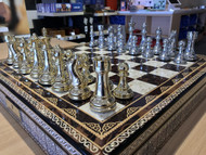 Dal Rossi 50cm Mosaic Finish Chess Board  & 105mm Gold/Silver Colour Chess Pieces