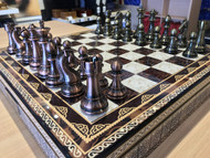 Dal Rossi Italy Chess Box Mosaic Finish Chess Board & 105mm Bronze/Copper Colour Chess Pieces