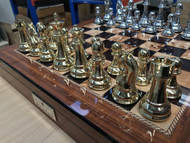 Dal Rossi Golden/Silver Finish Chess Pieces Only (L32221DR) - Pieces Only (board not included). full set shown.