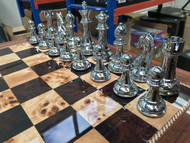 Dal Rossi 50cm Walnut Finish Chess Board & 105mm Gold/Silver Colour Chess Pieces