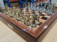 Dal Rossi 50cm Walnut Finish Chess Board & 105mm Gold/Silver Colour Chess Pieces (L2255DR & L32221DR) full photo