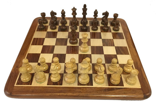 Rex Noir Expert 85mm Sheesham / Boxwood Chess Pieces Only (EXP-S-85)