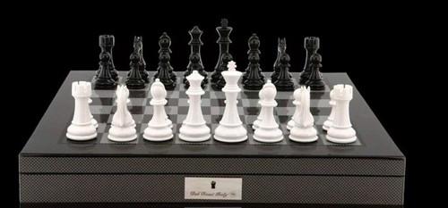 Dal Rossi Chess Set Carbon Fibre 50cm Board & 105mm White/Black Colour Pieces (L2266DR & L3222DR). Full photo