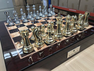 Dal Rossi Italy Mahogany Finish Chess Board with Storage and Gold / Silver Chess Pieces. Front On