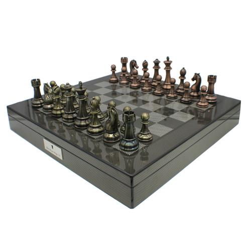 Dal Rossi Carbon Fibre Finish Chess Board & 105mm Bronze/Copper Colour Chess Pieces (L2266 & L3223)