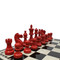 Dal Rossi American Staunton 95mm Red and Black Chess Pieces (L3080DR) red on board