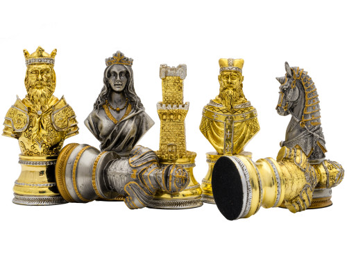 Italfama Medieval Themed Pewter Hand Painted Luxury Chessmen (P08552)