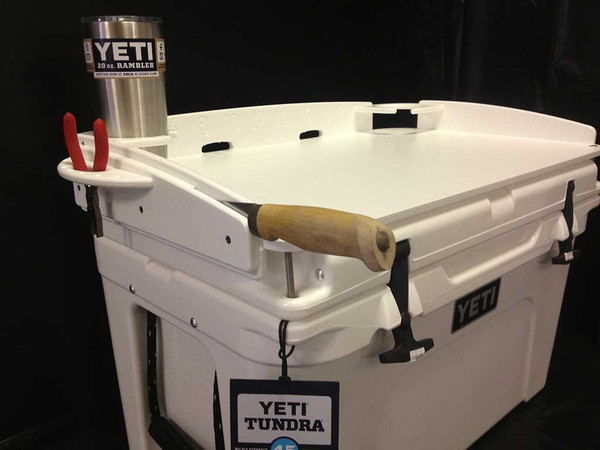 """INTRODUCING MANGROVE MARINE'S PREMIUM QUALITY TURNKEY """"FIT AND GO"""" DELUXE COOLER TOP BAIT STATION FOR ANY SIZE OF YETI TUNDRA SERIES COOLERS.  AVAILABLE IN THESE QUART SIZES (35,45,50,65,75,105,110,125,160,250,420) YOUR MARINE GRADE CUTTING BOARD FEATURES SUPER EASY """"FIT AND GO"""" INSTALLATION.  NO HOLES TO DRILL!"""