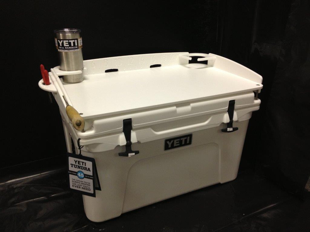 """If you're a Yeti Fan, this is one """"must have"""" accessory that EVERY Yeti Tundra Cooler Owner should have.  Keep your cooler in pristine condition, and use Mangrove Marine's """"Fit and Go"""" Top Bait Station for bait cutting, chum cutting and fileting when you go fishing or just partying and need to cut limes for the Margaritas."""